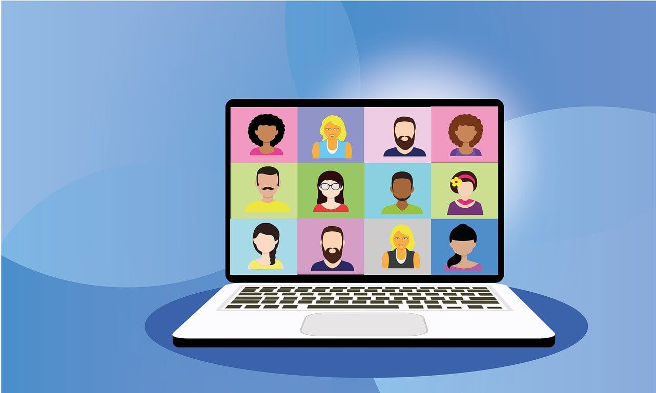 illustration of people in video conference