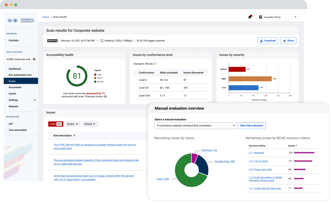 Screenshot of the eSSENTIAL Accessibility platform